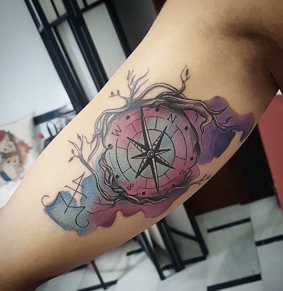 Watercolor compass with tree roots by @inkmortaltattooinst
