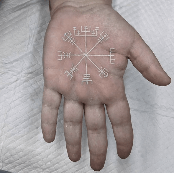 White ink viking compass palm tattoo by @khrystattoo