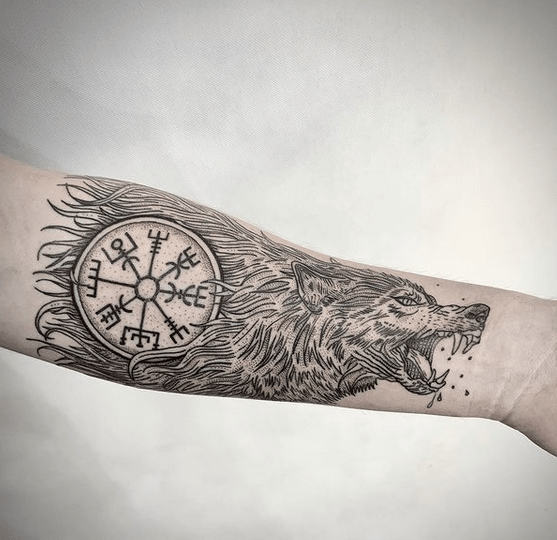 Wolf viking compass vegvisir tattoo by @ascetic_ink