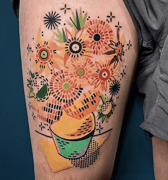 Abstract colorful Van Gogh's tattoo by @hen_tattooer