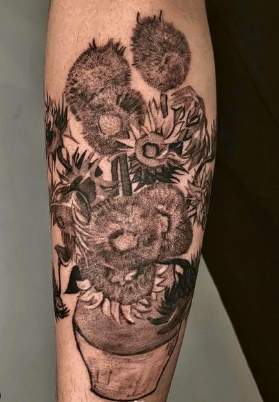 Big upperarm Van Gogh's sunflower tattoo by @choilee_txt