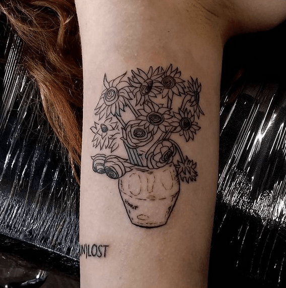 Black outline of Van Gogh's sunflower tattoo by @alma.ther
