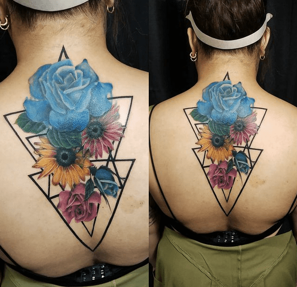 Blue roses and sunflowers tattoo by @inkxtreme_tattoo_studio