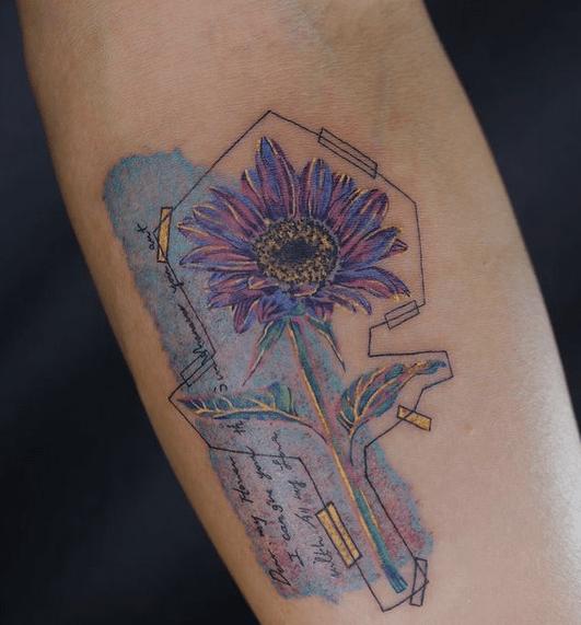 Blue violet watercolor sunflower tatoo by @morn_tre_tt