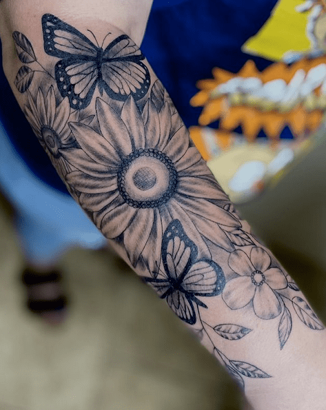 Butterfly sunflower halfsleeve tattoo by @saucedoalex50