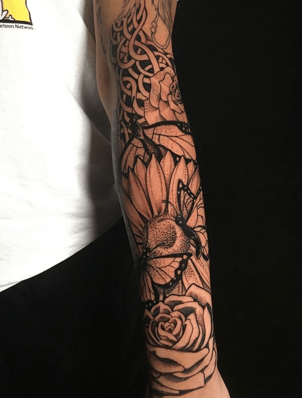 Celtic butterfly sunflower sleeve tattoo by @chingutattoos