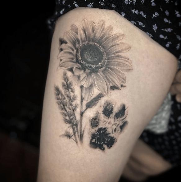 Dog paw lavender sunflower tattoo by @kaylainkz