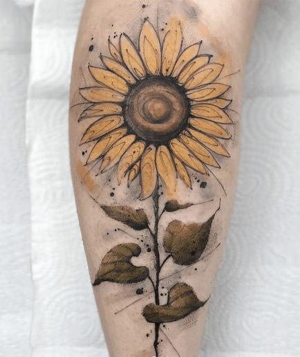 Earth colored watercolor sunflower by @felippmello