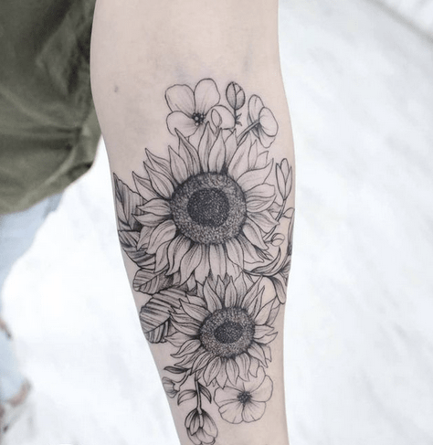 Fineline black and white sunflower tattoo by @parthenontattoo