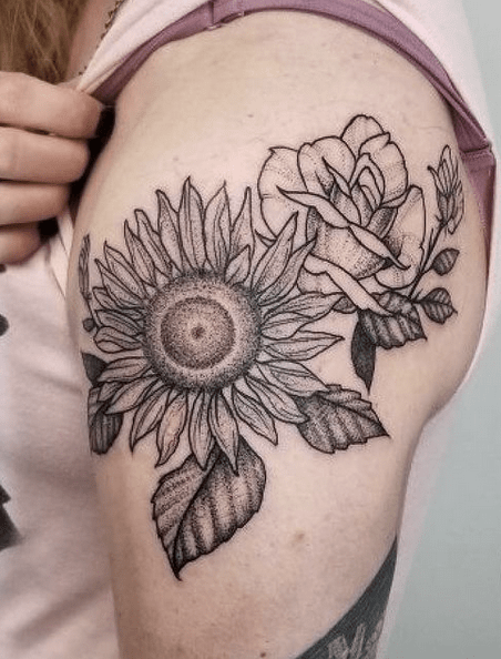Fineline sunflower and roses tattoo by @freddie_bowers_art