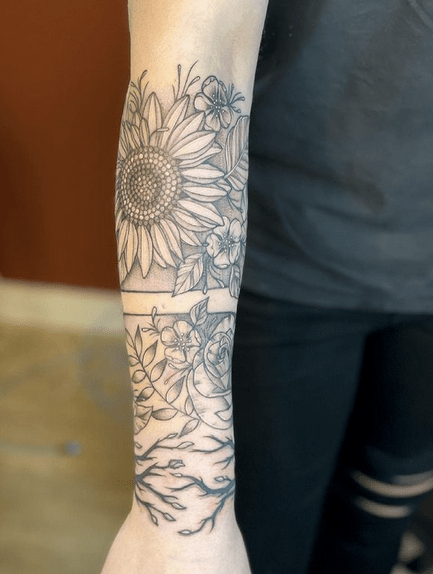Forearm half sleeve sunflower tattoo by @samibtattoos
