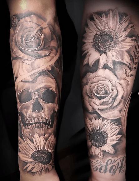 Forearm sunflower sleeve tattoo by @krazie.ink