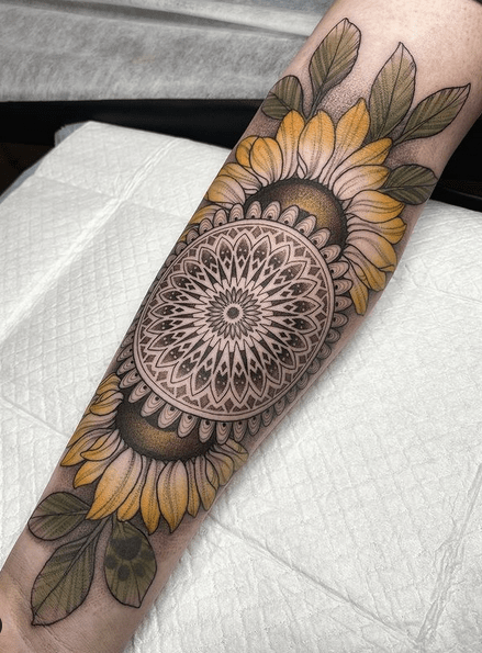 Forearm sunflowers mandala tattoo by @amytoddtattoo