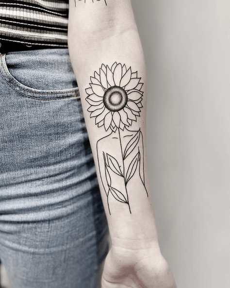 Forearm woman sunflower outline tattoo