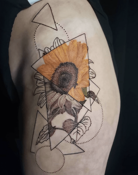 Geometric sunflower tattoo on the thigh by @abbeyschulz.ink