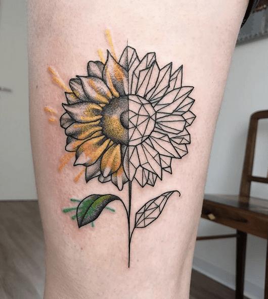 Half real half geometric sunflower tattoo by @ikigai.studiotattoo