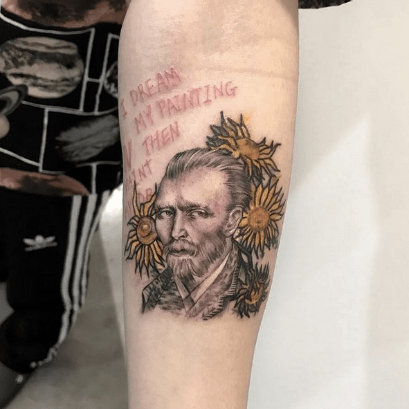 Portrait of Van Gogh with sunflowers tattoo by @tattoo_ham
