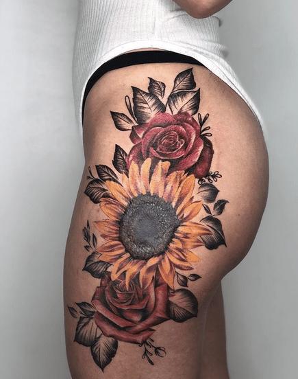Red roses sunflower tattoo by @bryan_fn_vega