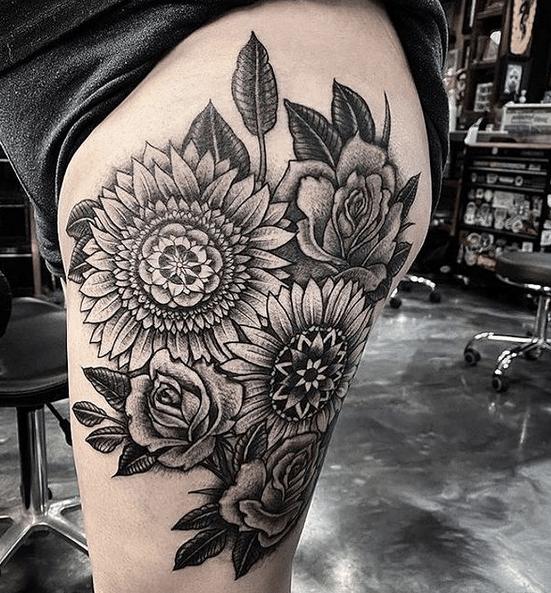 Rose sunflowers mandala tattoo by @playersclubtattoo