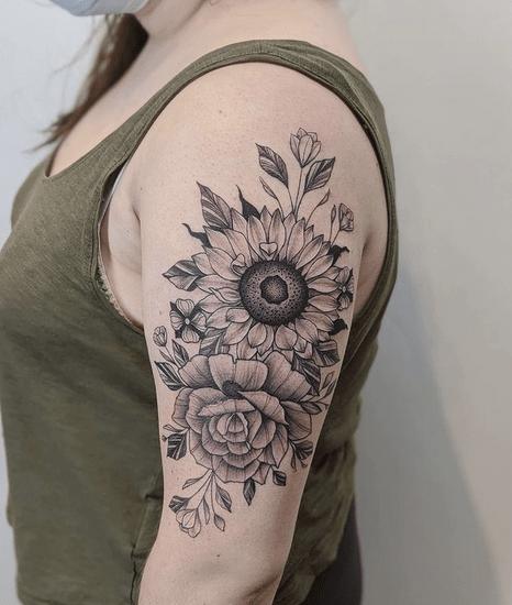 Shoulder rose sunflower tattoo by @botanicalfer