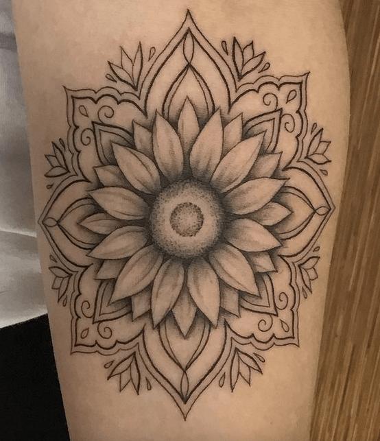 Simple mandala sunflower tattoo by @melbootstattoo