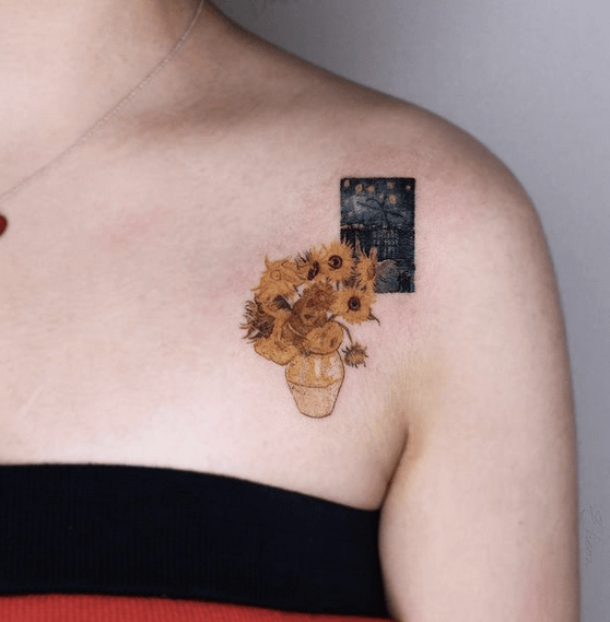 Small collarbone Van Gogh's sunflower tattoo by @eheon_art