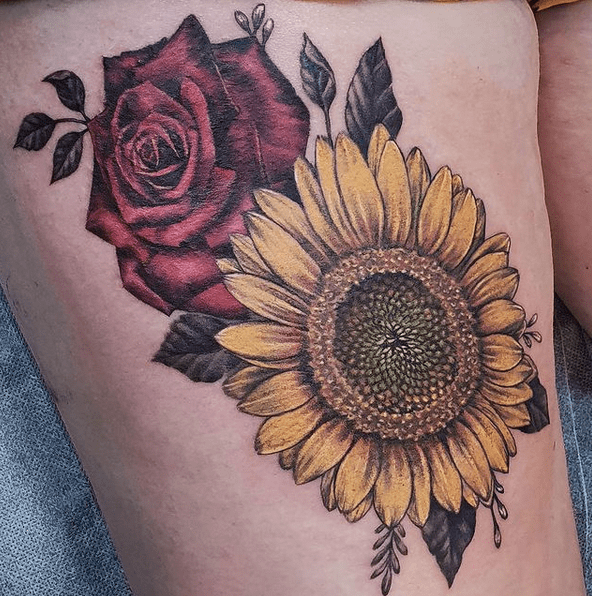 Sunflower and rose color tattoo by @inksterchad