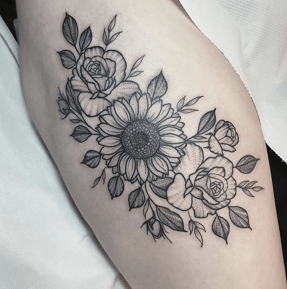 Sunflower and rose tattoo with dotwork shading by @lucietattoo