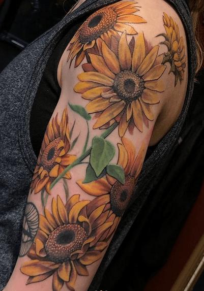 Sunflower halfsleeve tattoo by @hernandeztattoos