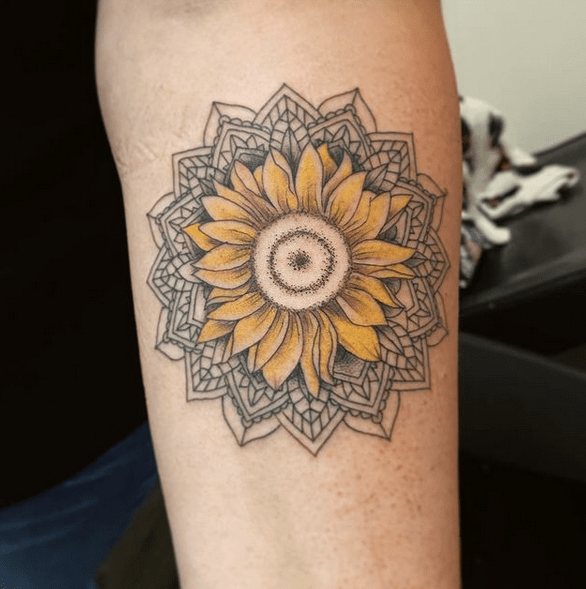 Sunflower head mandala tattoo by @nshekhtmantattoos