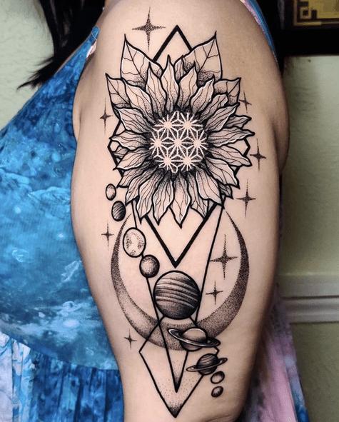 Sunflower mandala triangle planets tattoo by @naysladroguett