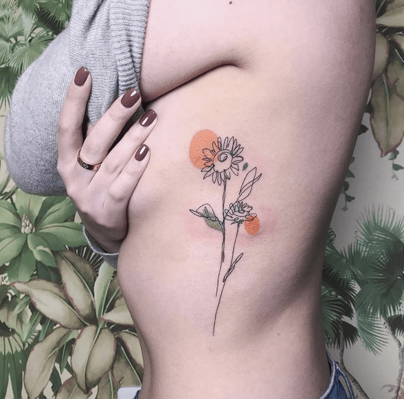 Sunflower outline tattoo with orange circles by @demiadventure