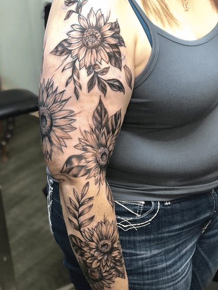 Sunflower tattoo sleeve by @brickhouse_tattoos