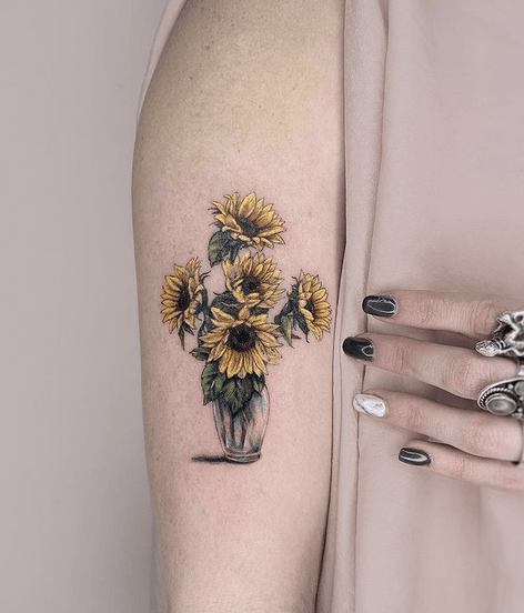 Sunflowers in a vase small tattoo by @sunnchic