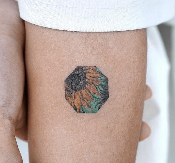Tiny Van Gogh's sunflower tattoo by @eden_tattoo_