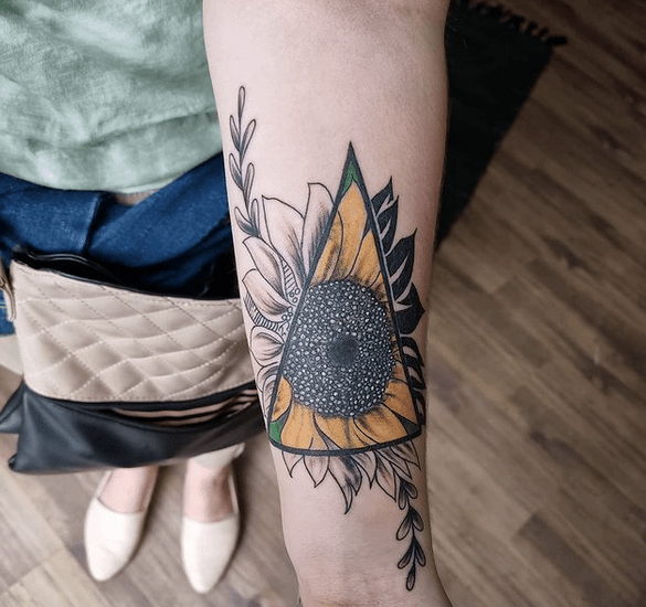 Triangle sunflower forearm tattoo by @kyles_tattoo_studio