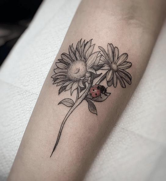 Two-headed sunflower tattoo ladybuy by @elo_ttt