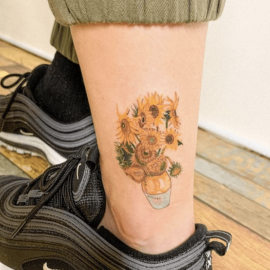 Van Gogh's sunflower vase tattoo on ankle by @blooming_ink_xoxo