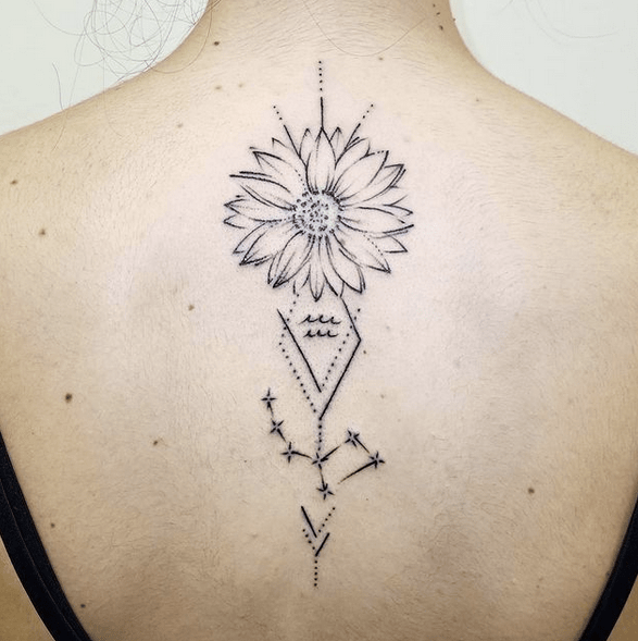 Vertical back geometric sunflower tattoo by @alex_ink_storm