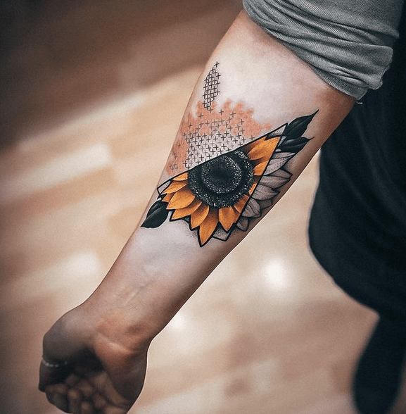 Yellow sunflower in a triangle with geometric shading tattoo by @honeybrambleco
