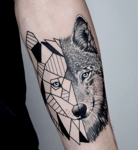 Abstract black and white geometric wolf tattoo by @tattoo_giosue