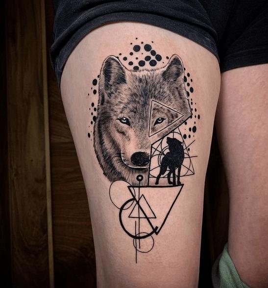 Abstract geometric wolf tattoo by @kopuz_kopuz