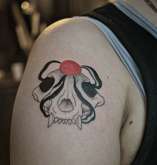 Abstract wolf skull tattoo by @comasedge_tattoo