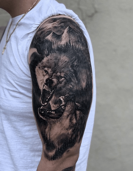 Aggressive wolves tattoo sleeve by @artbyodowd