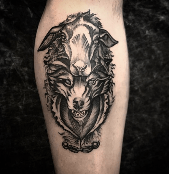 Agressive wolf in sheep's clothing tattoo by @larzfrmarz