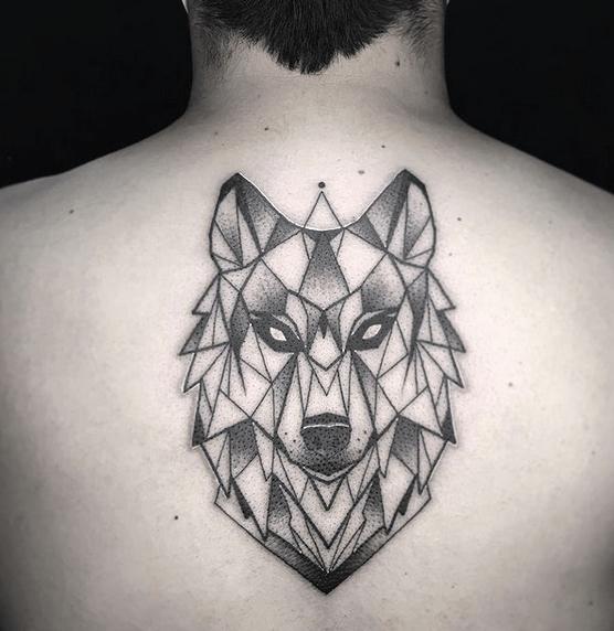 Angry geometric wolf tattoo by @saddmortem_