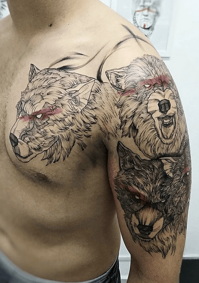 Angry three wolves with stripes on eyes by @peterp_art