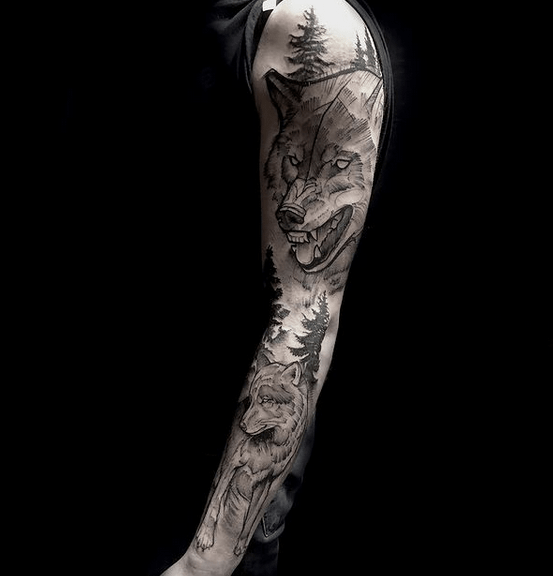 Angry wolf tattoo sleeve by @lilarees