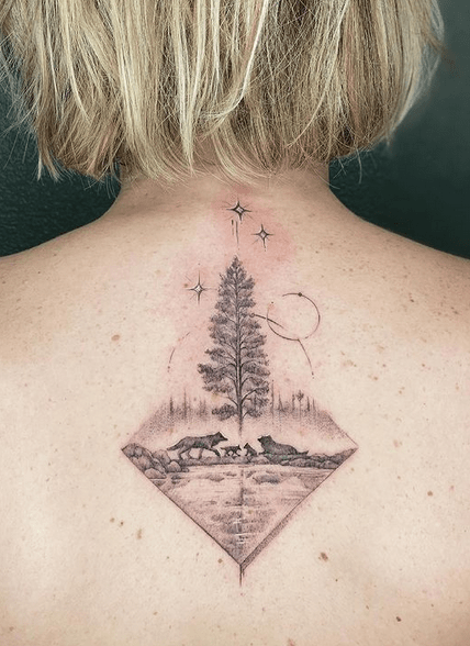Back small mountain tattoo by @emmk_a