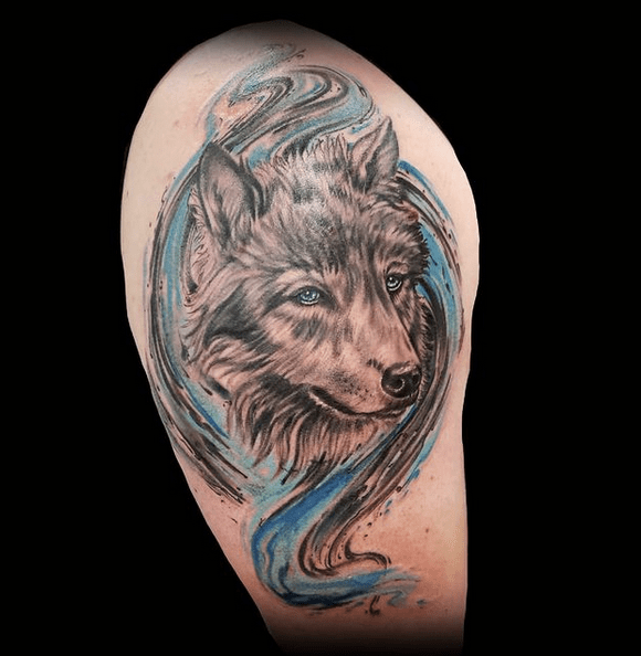 Blue watrecolor wolf tattoo by @shanevanzant23